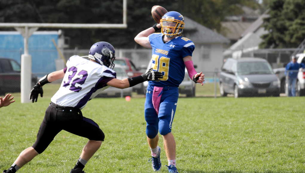 Riverside Chargers Noah Valasek passes for a TD in Friday's game.